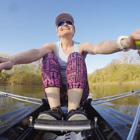 Patricia Carswell rowing during chemo
